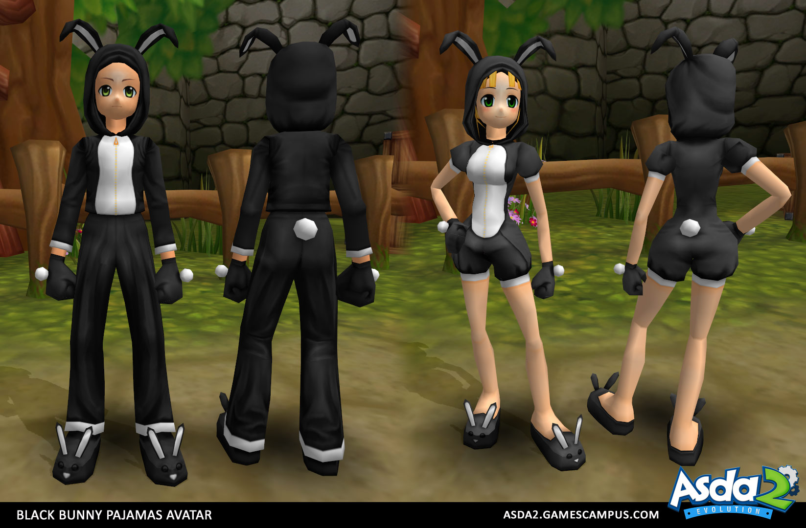 Best Anime MMORPG - Asda 2 - Black Bunny Pajamas Set